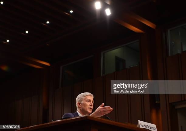 S Supreme Court Associate Justice nominee Neil Gorsuch testifies during the third day of his confirmation hearing by the Senate Judiciary Committee...