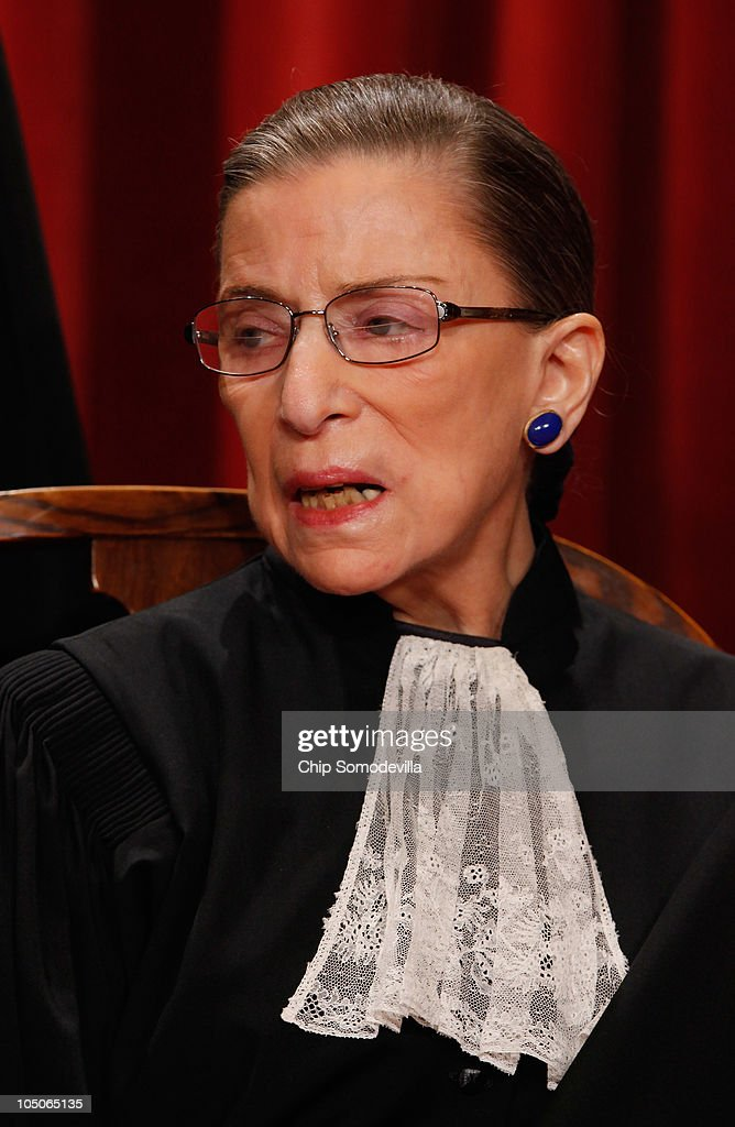 U.S. Supreme Court Associate Justice <a gi-track='captionPersonalityLinkClicked' href=/galleries/search?phrase=Ruth+Bader+Ginsburg&family=editorial&specificpeople=199152 ng-click='$event.stopPropagation()'>Ruth Bader Ginsburg</a> poses for photographs in the East Conference Room at the Supreme Court building October 8, 2010 in Washington, DC. This is the first time in history that three women are simultaneously serving on the court.
