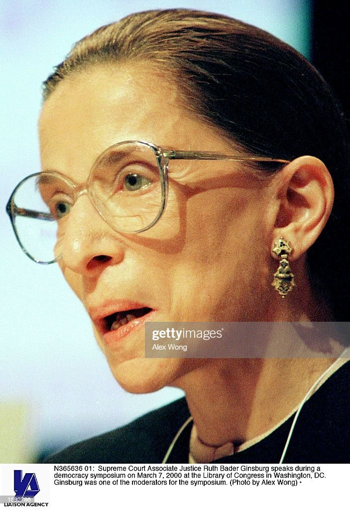 Supreme Court Associate Justice Ruth Bader Ginsburg speaks during a democracy symposium on March 7 2000 at the Library of Congress in Washington DC...