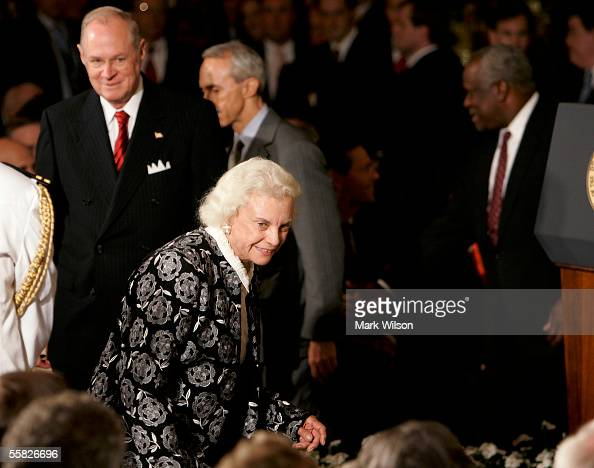 S Supreme Court Associate Justice Sandra Day O'Connor enters the East Room followed by Supreme Court Associate Anthony M Kennedy Supreme Court...