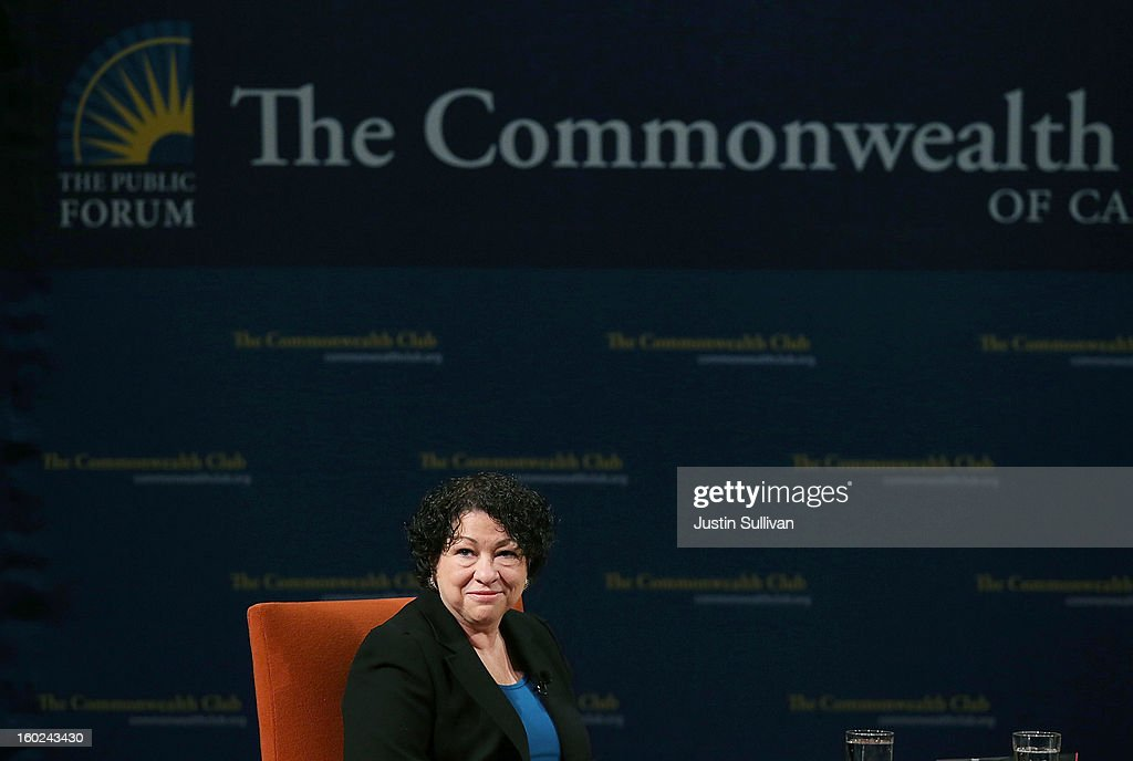 US Supreme Court Associate Justice <a gi-track='captionPersonalityLinkClicked' href=/galleries/search?phrase=Sonia+Sotomayor&family=editorial&specificpeople=5872777 ng-click='$event.stopPropagation()'>Sonia Sotomayor</a> speaks during a Commonwealth Club event at Herbst Theatre on January 28, 2013 in San Francisco, California. Sotomayor spoke in conversation with Stanford law school dean Mary Elizabeth Magill at the Commonwealth Club as she promotes her new book 'My Beloved World'