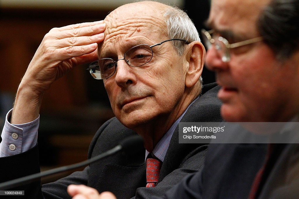 Supreme Court Associate Justice <a gi-track='captionPersonalityLinkClicked' href=/galleries/search?phrase=Stephen+Breyer+-+Judge&family=editorial&specificpeople=227411 ng-click='$event.stopPropagation()'>Stephen Breyer</a> (L) and fellow Associate Justice <a gi-track='captionPersonalityLinkClicked' href=/galleries/search?phrase=Antonin+Scalia&family=editorial&specificpeople=215620 ng-click='$event.stopPropagation()'>Antonin Scalia</a> testifiy before the House Judiciary Committee's Commercial and Administrative Law Subcommittee on Capitol Hill May 20, 2010 in Washington, DC. Breyer and Scalia testified to the subcommittee about the Administrative Conference of the United States.
