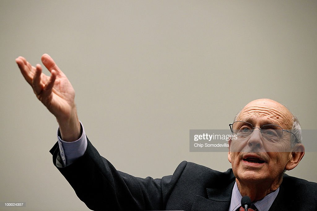 Supreme Court Associate Justice <a gi-track='captionPersonalityLinkClicked' href=/galleries/search?phrase=Stephen+Breyer+-+Judge&family=editorial&specificpeople=227411 ng-click='$event.stopPropagation()'>Stephen Breyer</a> testifies before the House Judiciary Committee's Commercial and Administrative Law Subcommittee on Capitol Hill May 20, 2010 in Washington, DC. Breyer and fellow Associate Justice Antonin Scalia testified to the subcommittee about the Administrative Conference of the United States.
