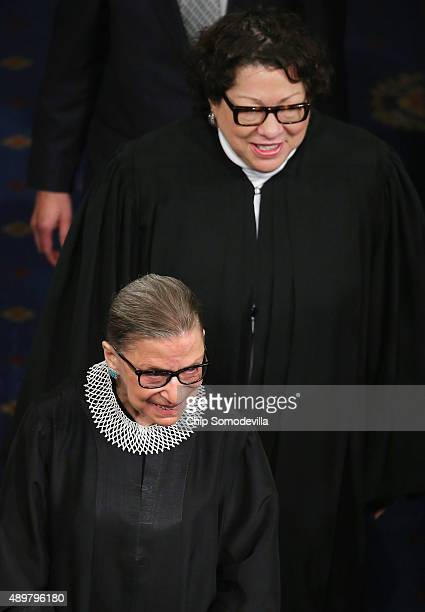 S Supreme Court Associate Justices Ruth Bader Ginsburg and Sonia Sotomayor arrive in the House Chamber of the US Capitol to hear Pope Francis address...