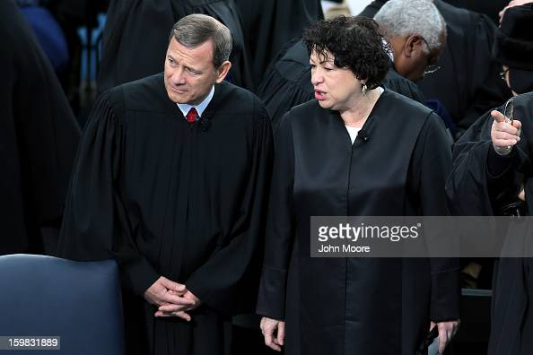 Supreme Court Chief Justice John Roberts and Supreme Court Justice Sonia Sotomayor attend the presidential inauguration on the West Front of the US...