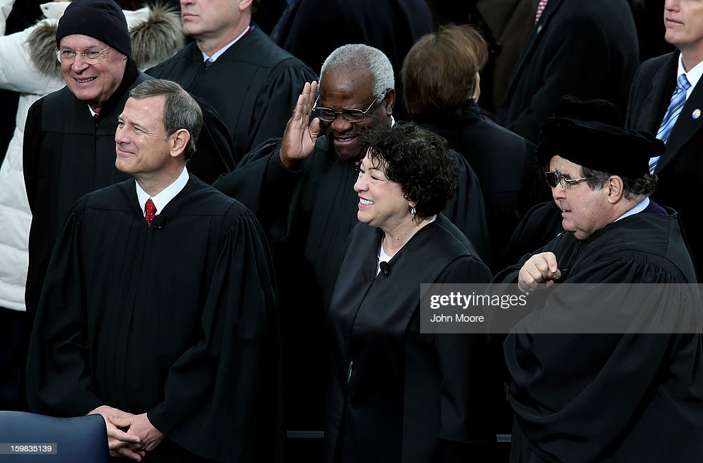 Supreme Court Chief Justice John Roberts, Justice Clarence Thomas, Justice Sonia Sotomayor and Justice Antonin Scalia look on during the public ceremonial inauguration for U.S. President Barack Obama on the West Front of the U.S. Capitol January 21, 2013 in Washington, DC. Barack Obama was re-elected for a second term as President of the United States.