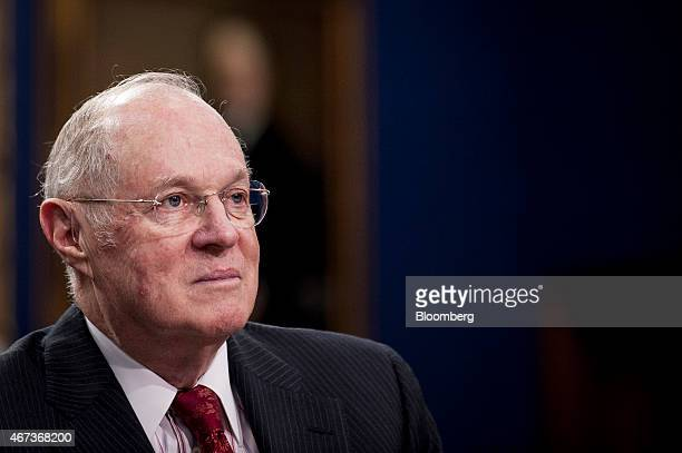 US Supreme Court Justice Anthony Kennedy listens to opening statements during a Financial Services and General Government Subcommittee in Washington...
