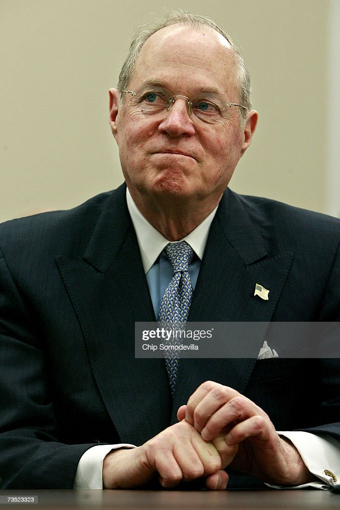 U.S. Supreme Court Justice Anthony Kennedy testifies before the House Financial Services and General Government Subcommittee on Capitol Hill March 8, 2007 in Washington, DC. Thomas and fellow Justice Clarence Thomas spoke about concerns with the ongoing remodeling of the court building, the reduction of paperwork due to electronic media and the disparity of pay between federal judges and lawyers working in the private sector.