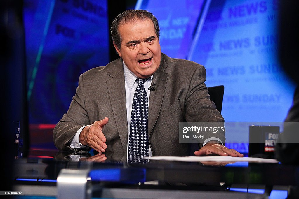 U.S. Supreme Court Justice <a gi-track='captionPersonalityLinkClicked' href=/galleries/search?phrase=Antonin+Scalia&family=editorial&specificpeople=215620 ng-click='$event.stopPropagation()'>Antonin Scalia</a> takes part in an interview with Chris Wallace on 'FOX News Sunday' at the FOX News D.C. Bureau on July 27, 2012 in Washington, DC.