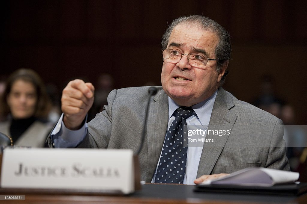 Supreme Court Justice Antonin Scalia testifies before a Senate Judiciary Committee hearing in Hart Building entitled 'Considering the Role of Judges Under the Constitution of the United States.' Justice Stephen Breyer also testified.