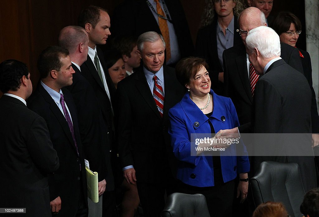 U.S. Supreme Court Justice nominee Elena Kagan shakes hands with Sen. John Cornyn (R-TX) as she arrives with Jeff Sessions (R-AL) (L), ranking member of the Senate Judiciary Committee, during the first day of her confirmation hearings on Capitol Hill June 28, 2010 in Washington, DC. Kagan is U.S. President Barack Obama's second Supreme Court nominee since taking office.