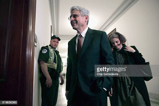 S Supreme Court Justice nominee Merrick Garland arrives at the offices of Sen Christopher Coons in the Russell Senate Office Building on Capitol Hill...