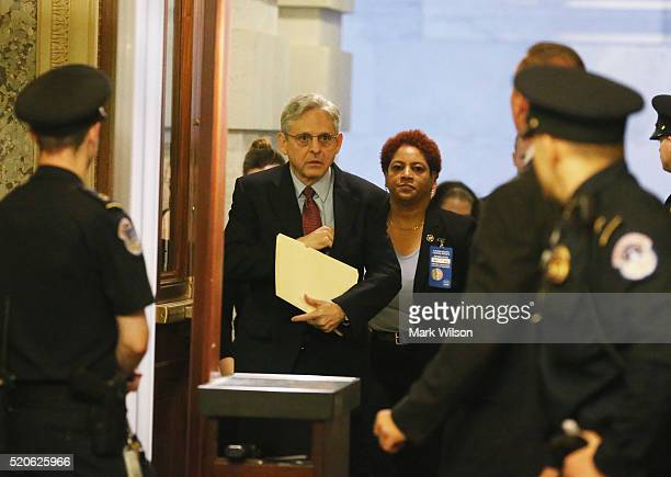 Supreme Court Justice nominee Merrick Garland arrives for breakfast meeting with Sen Chuck Grassley on Capitol Hill April 12 2016 in Washington DC...