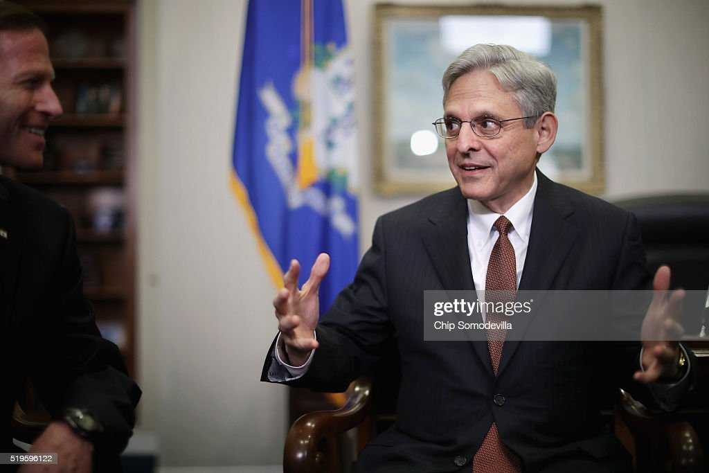 U.S. Supreme Court Justice nominee <a gi-track='captionPersonalityLinkClicked' href=/galleries/search?phrase=Merrick+Garland&family=editorial&specificpeople=7549599 ng-click='$event.stopPropagation()'>Merrick Garland</a> (R) meets Sen. <a gi-track='captionPersonalityLinkClicked' href=/galleries/search?phrase=Richard+Blumenthal&family=editorial&specificpeople=1036916 ng-click='$event.stopPropagation()'>Richard Blumenthal</a> (D-CT) in his office in the Hart Senate Office Building on Capitol Hill April 7, 2016 in Washington, DC. Garland is meeting with senators today while visiting Capitol Hill.
