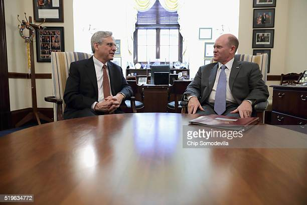 S Supreme Court Justice nominee Merrick Garland meets with Sen Christopher Coons in his office in the Russell Senate Office Building on Capitol Hill...