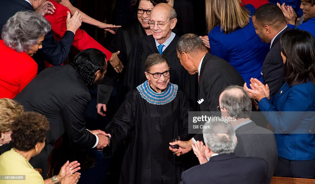 Supreme Court Justice Ruth Bader Ginsburg arrives for President Barack Obama's State of the Union address in the Capitol on Tuesday Jan 20 2015