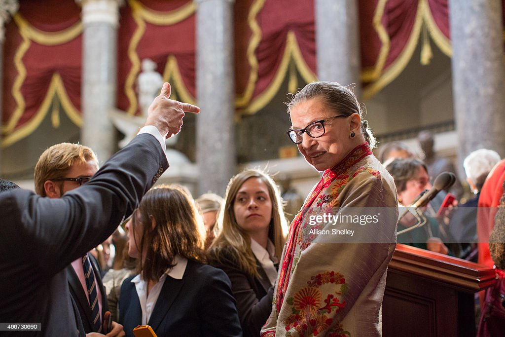 S Supreme Court Justice Ruth Bader Ginsburg greets participants at an annual Women's History Month reception hosted by Pelosi in the US capitol...