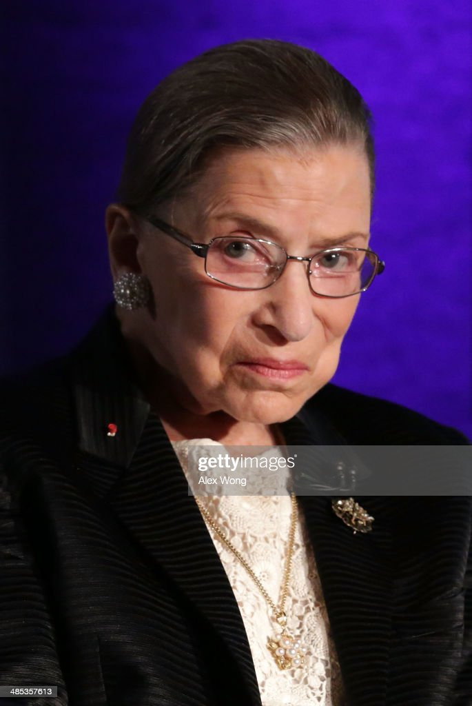 Supreme Court Justice Ruth Bader Ginsburg waits for the beginning of the taping of 'The Kalb Report' April 17 2014 at the National Press Club in...