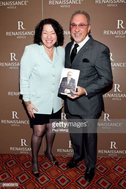 S Supreme Court Justice Sonia Sotomayor and Emilio Estefan at the book signing and cocktail party for the release of his book 'The Rhythm of Success'...