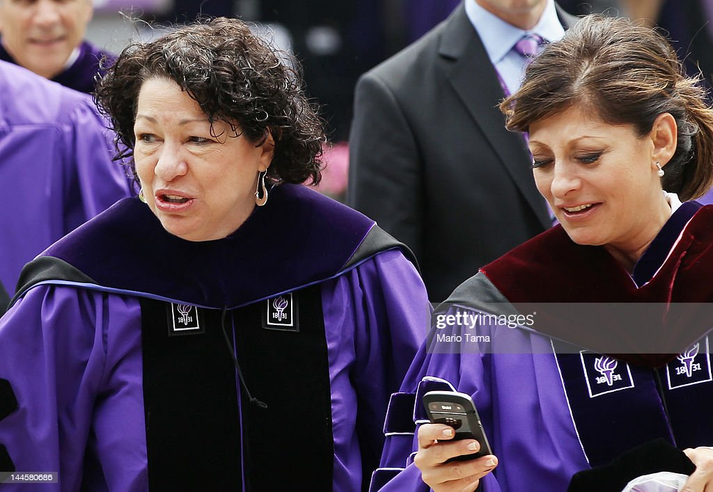 U.S. Supreme Court Justice <a gi-track='captionPersonalityLinkClicked' href=/galleries/search?phrase=Sonia+Sotomayor&family=editorial&specificpeople=5872777 ng-click='$event.stopPropagation()'>Sonia Sotomayor</a> (L) and TV financial journalist <a gi-track='captionPersonalityLinkClicked' href=/galleries/search?phrase=Maria+Bartiromo&family=editorial&specificpeople=242903 ng-click='$event.stopPropagation()'>Maria Bartiromo</a> (R) depart New York University's commencement ceremony at Yankee Stadium on May 16, 2012 in the Bronx borough of New York City. Sotomayor spoke to a crowd of more than 27,000 at the ceremony and was raised in a Bronx housing project not far from the stadium.