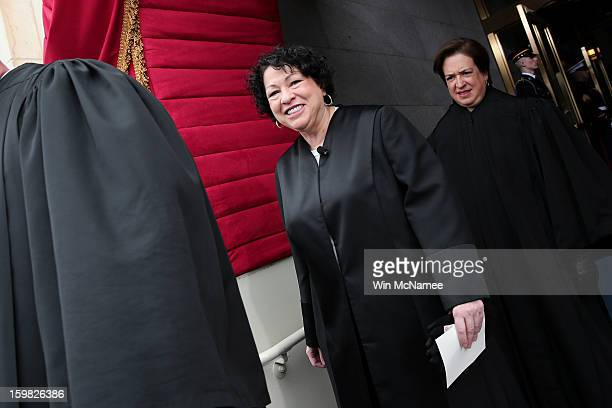 Supreme Court Justice Sonia Sotomayor arrives for the presidential inauguration on the West Front of the US Capitol January 21 2013 in Washington DC...
