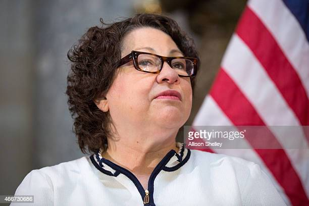 S Supreme Court Justice Sonia Sotomayor participates in an annual Women's History Month reception hosted by Pelosi in the US capitol building on...
