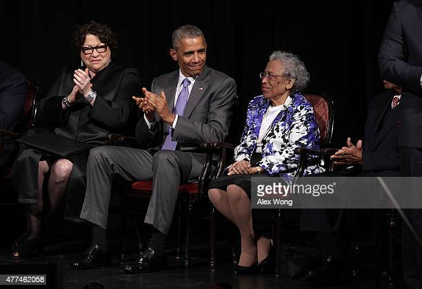 S Supreme Court Justice Sonia Sotomayor President Barack Obama applaud as Lorine Lynch mother of Attorney General Loretta Lynch is acknowledged...