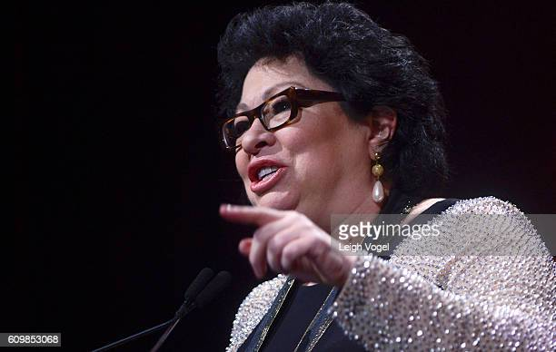 Supreme Court Justice Sonia Sotomayor receives the Leadership Award during the 29th Hispanic Heritage Awards at the Warner Theatre on September 22...