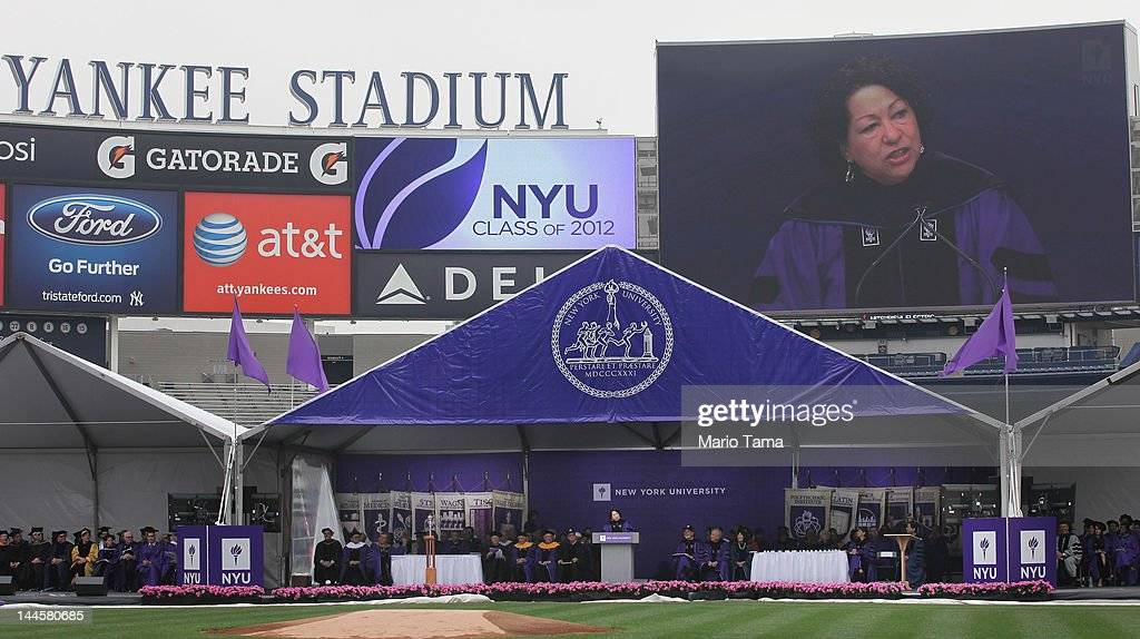 U.S. Supreme Court Justice Sonia Sotomayor speaks at New York University's commencement ceremony at Yankee Stadium on May 16, 2012 in the Bronx borough of New York City. Sotomayor spoke to a crowd of more than 27,000 at the ceremony and was raised in a Bronx housing project not far from the stadium.