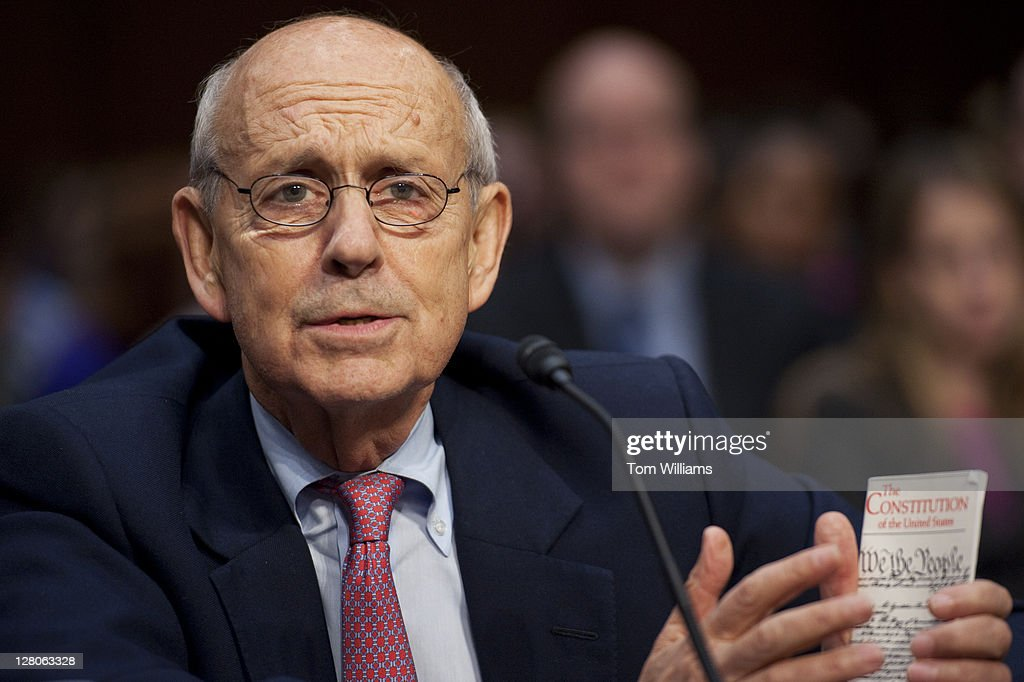 Supreme Court Justice Stephen Breyer, testifies before a Senate Judiciary Committee hearing in Hart Building entitled 'Considering the Role of Judges Under the Constitution of the United States.' Justice Antonin Scalia also testified.