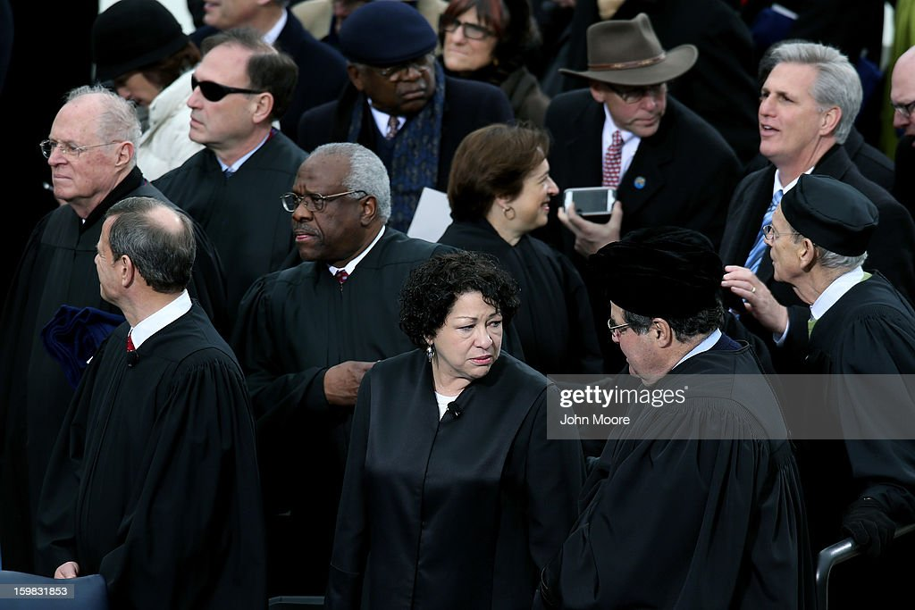 U.S. Supreme Court Justices (L-R) <a gi-track='captionPersonalityLinkClicked' href=/galleries/search?phrase=Anthony+Kennedy+-+Judge&family=editorial&specificpeople=220874 ng-click='$event.stopPropagation()'>Anthony Kennedy</a>, Supreme Court Chief Justice <a gi-track='captionPersonalityLinkClicked' href=/galleries/search?phrase=John+Roberts+-+17th+Chief+Justice+of+the+United+States&family=editorial&specificpeople=2220360 ng-click='$event.stopPropagation()'>John Roberts</a>, <a gi-track='captionPersonalityLinkClicked' href=/galleries/search?phrase=Clarence+Thomas+-+Judge&family=editorial&specificpeople=217528 ng-click='$event.stopPropagation()'>Clarence Thomas</a>, <a gi-track='captionPersonalityLinkClicked' href=/galleries/search?phrase=Sonia+Sotomayor&family=editorial&specificpeople=5872777 ng-click='$event.stopPropagation()'>Sonia Sotomayor</a> Elena Kegan, Samuel A. Alito, and Stephen G. Breyer attend the presidential inauguration on the West Front of the U.S. Capitol January 21, 2013 in Washington, DC. Barack Obama was re-elected for a second term as President of the United States.