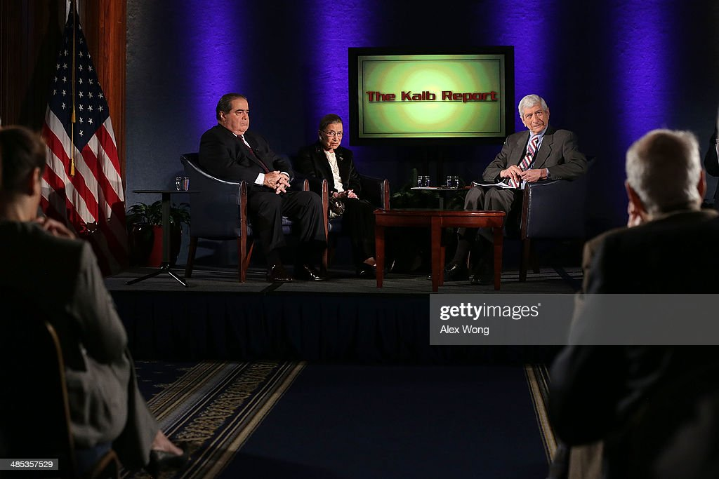 Supreme Court Justices Antonin Scalia (L) and <a gi-track='captionPersonalityLinkClicked' href=/galleries/search?phrase=Ruth+Bader+Ginsburg&family=editorial&specificpeople=199152 ng-click='$event.stopPropagation()'>Ruth Bader Ginsburg</a> (2nd L), and professor emeritus at Harvard University's Kennedy School of Government and host of 'The Kalb Report' Marvin Kalb (R), participate in a taping of the show April 17, 2014 at the National Press Club in Washington, DC. The Kalb Report is a discussion of media ethics and responsibility at the National Press Club held each month.