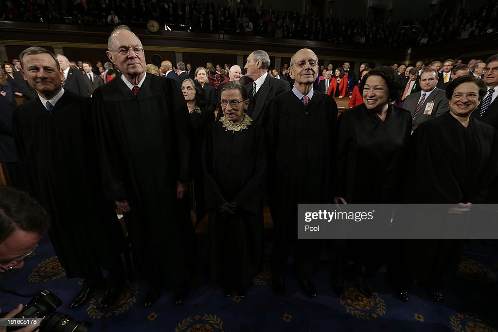 Supreme Court Justices, Chief Justice John Roberts, Anthony Kennedy, Ruth Bader Ginsburg, Stephen Breyer, Sonia Sotomayor and Elena Kagan await the start of President Barack Obama's State of the Union address during a joint session of Congress on Capitol Hill on February 12, 2013 in Washington, D.C. Facing a divided Congress, Obama is expected to focus his speech on new initiatives designed to stimulate the U.S. economy.