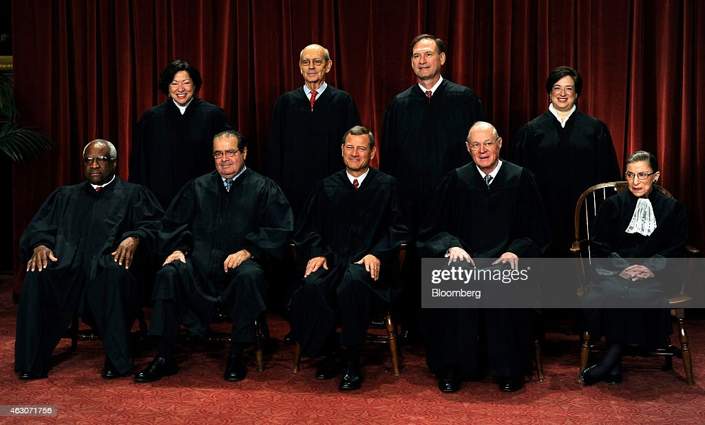 U.S. Supreme Court Justices <a gi-track='captionPersonalityLinkClicked' href=/galleries/search?phrase=Clarence+Thomas&family=editorial&specificpeople=217528 ng-click='$event.stopPropagation()'>Clarence Thomas</a>, front row from left to right, <a gi-track='captionPersonalityLinkClicked' href=/galleries/search?phrase=Antonin+Scalia&family=editorial&specificpeople=215620 ng-click='$event.stopPropagation()'>Antonin Scalia</a>, John G. Roberts, <a gi-track='captionPersonalityLinkClicked' href=/galleries/search?phrase=Anthony+Kennedy&family=editorial&specificpeople=220874 ng-click='$event.stopPropagation()'>Anthony Kennedy</a>, <a gi-track='captionPersonalityLinkClicked' href=/galleries/search?phrase=Ruth+Bader+Ginsburg&family=editorial&specificpeople=199152 ng-click='$event.stopPropagation()'>Ruth Bader Ginsburg</a>, <a gi-track='captionPersonalityLinkClicked' href=/galleries/search?phrase=Sonia+Sotomayor&family=editorial&specificpeople=5872777 ng-click='$event.stopPropagation()'>Sonia Sotomayor</a>, back row from left to right, <a gi-track='captionPersonalityLinkClicked' href=/galleries/search?phrase=Stephen+Breyer&family=editorial&specificpeople=227411 ng-click='$event.stopPropagation()'>Stephen Breyer</a>, Sameul Alito, and <a gi-track='captionPersonalityLinkClicked' href=/galleries/search?phrase=Elena+Kagan&family=editorial&specificpeople=5704239 ng-click='$event.stopPropagation()'>Elena Kagan</a> sit for a group photograph in the East Conference Room of the Supreme Court in Washington, D.C., U.S., on Friday, Oct. 8, 2010. With the appointment of Kagan, the nine-member supreme court now has three women for the first time. Photographer: Roger L. Wollenberg/Pool via Bloomberg