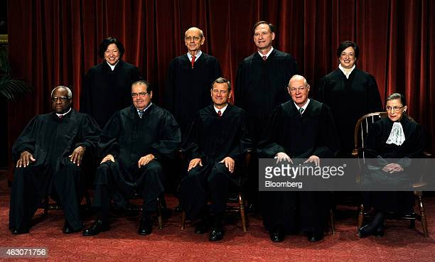 US Supreme Court Justices Clarence Thomas front row from left to right Antonin Scalia John G Roberts Anthony Kennedy Ruth Bader Ginsburg Sonia...
