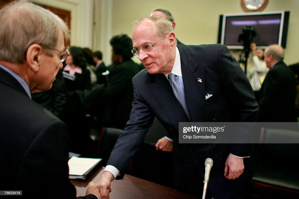 U.S. Supreme Court Justices Justice Anthony Kennedy (R) talks with House Financial Services and General Government Subcommittee members after he testified to the subcommittee on Capitol Hill March 8, 2007 in Washington, DC. Kennedy and fellow Justice Clarence Thomas spoke about concerns with the ongoing remodeling of the court building, the reduction of paperwork due to electronic media and the disparity of pay between federal judges and lawyers working in the private sector.