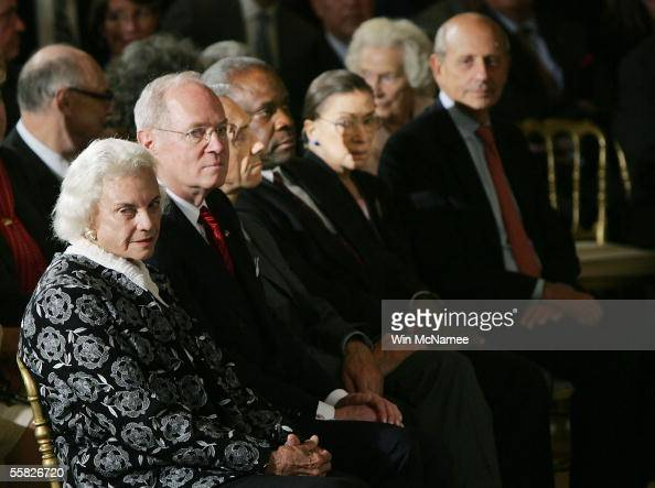 US Supreme Court Justices Sandra Day O'Connor Anthony Kennedy David Souter Clarence Thomas Ruth Bader Ginsburg and Stephen Breyer watch the...