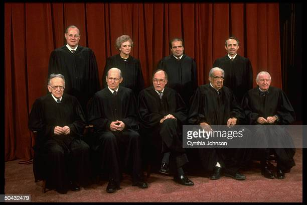 Supreme Court Justices Stevens Souter Marshall Scalia Chief Rehnquist O'Connor White Kennedy Blackmun