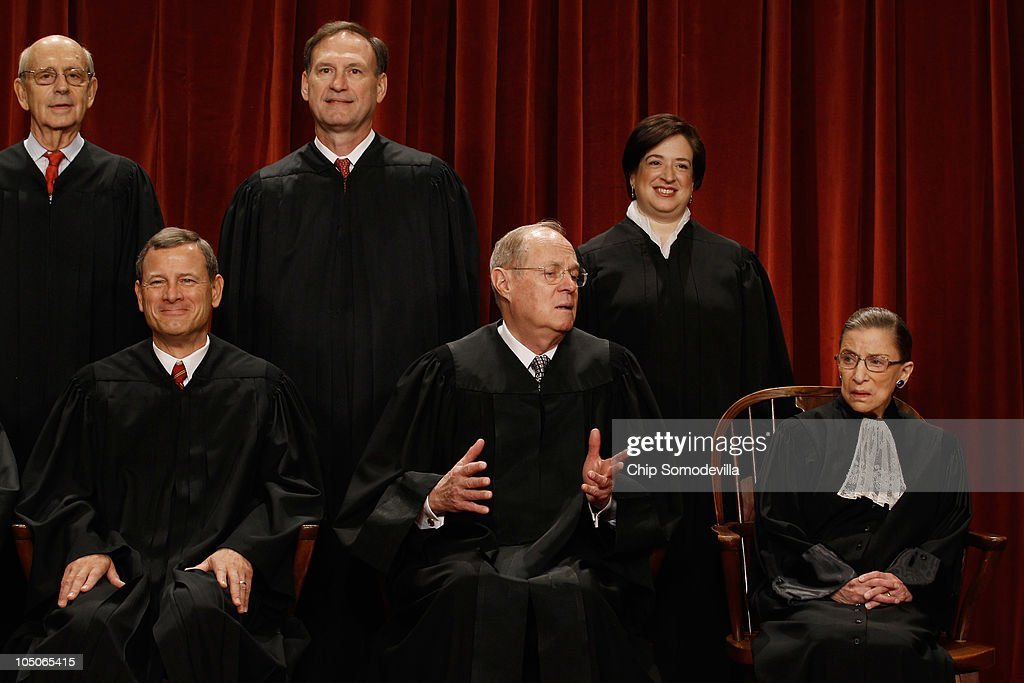 S Supreme Court members Chief Justice John Roberts Associate Justice Anthony Kennedy Associate Justice Ruth Bader Ginsburg Associate Justice Stephen...