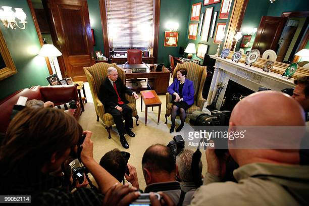 S Supreme Court nominee and Solicitor General Elena Kagan meets with ranking member of Senate Judiciary Committee Sen Jeff Sessions while visiting...