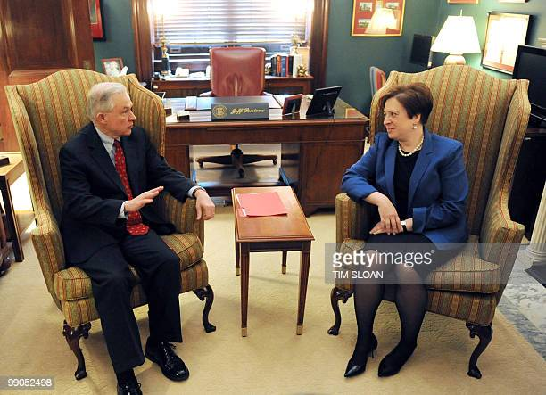 US Supreme Court Nominee Elena Kagan meets with Senator Jeff SessionsRAL ranking member of the Judiciary Committee on May 12 2010 on Capitol Hill in...