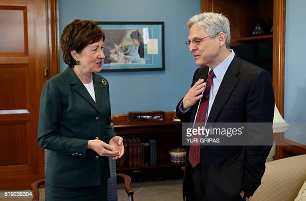 US Supreme Court nominee Judge Merrick Garland meets with Senator Susan Collins on Capitol Hill in Washington on April 5 2016 / AFP / YURI GRIPAS