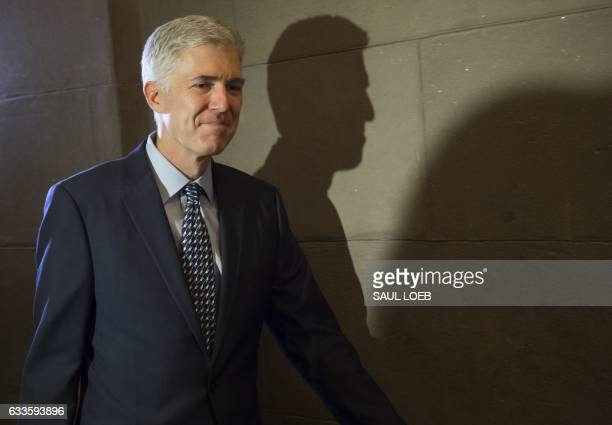 Supreme Court nominee Judge Neil Gorsuch arrives for a meeting at the US Capitol in Washington DC February 2 2017 / AFP / SAUL LOEB