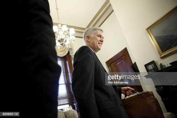 S Supreme Court nominee Judge Neil Gorsuch arrives for a meeting with Sen Robert Casey in Casey's office on Capitol Hill February 16 2017 in...