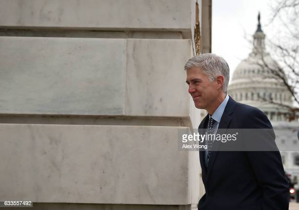 S Supreme Court nominee Judge Neil Gorsuch arrives for meetings with Senate members on Capitol Hill February 2 2017 in Washington DC President Donald...