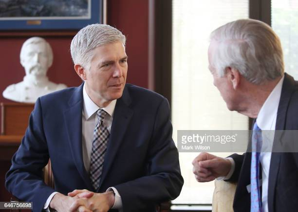 Supreme Court nominee Judge Neil Gorsuch meets with Sen Angus King in his office on Capitol Hill March 1 2017 in Washington DC President Donald Trump...
