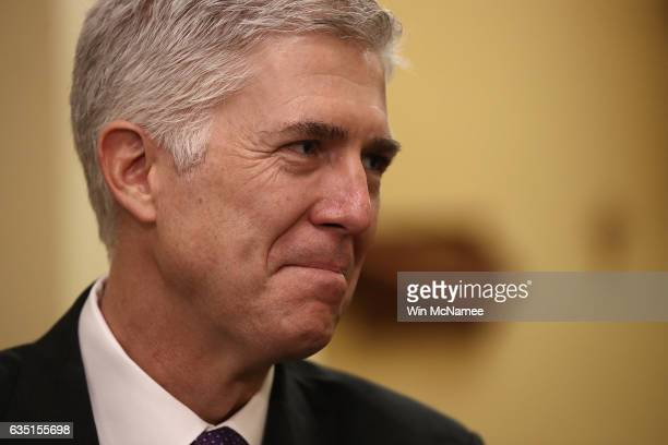 S Supreme Court nominee Judge Neil Gorsuch meets with Sen Joni Ernst in Ernst's office on Capitol Hill February 13 2017 in Washington DC Gorsuch...