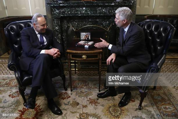 S Supreme Court nominee Judge Neil Gorsuch meets with Senate Minority Leader Chuck Schumer in Schumer's office at the US Capitol on February 7 2017...