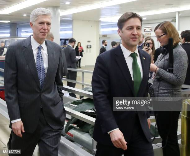 Supreme Court nominee Judge Neil Gorsuch walks with Sen Ben Sasse at the Capitol Hill February 7 2017 in Washington DC President Donald Trump...