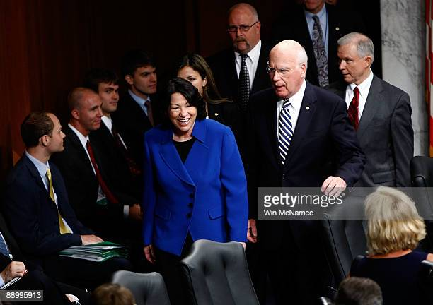 Supreme Court nominee Judge Sonia Sotomayor arrives for her confirmation hearing with ranking member Sen Jeff Sessions and committee chairman Sen...